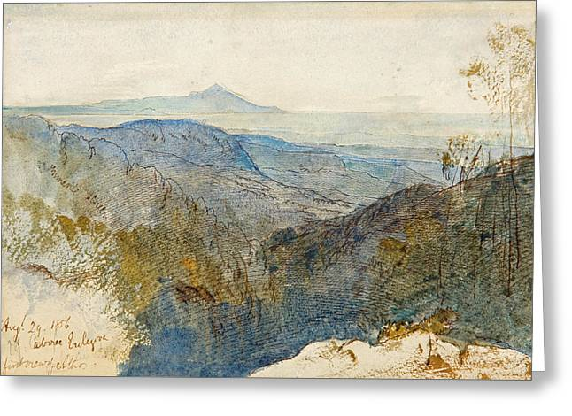 A Distant View Of Mount Athos Greeting Card