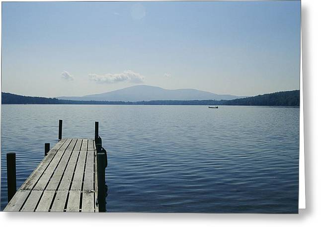 A Dock Juts Into The Greeting Card by Stacy Gold