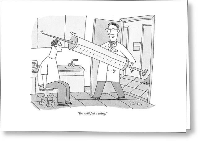 A Doctor Walks Into His Office To See A Patient Greeting Card