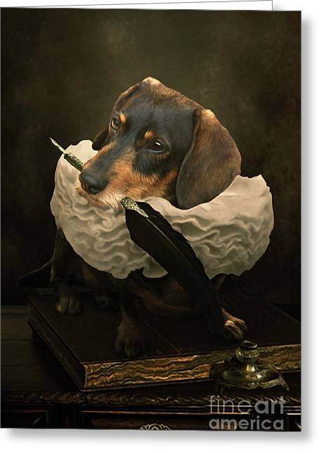 A Dogs Tale Greeting Card by Babette Van den Berg