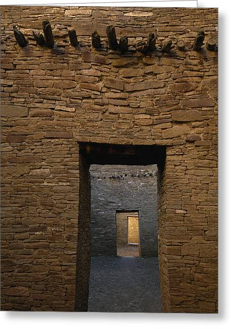 Pre Columbian Architecture And Art Greeting Cards - A Doorway And Walls Inside Pueblo Greeting Card by Bill Hatcher