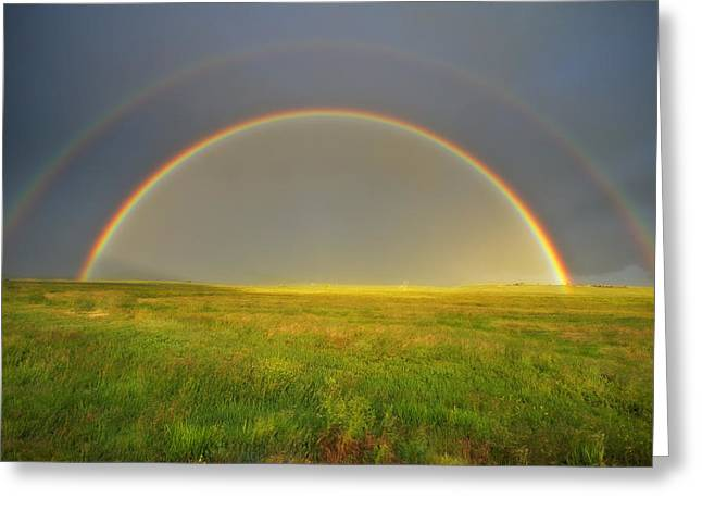 Meditative Greeting Cards - A Double Rainbow In A Meadow Greeting Card by Robbie George