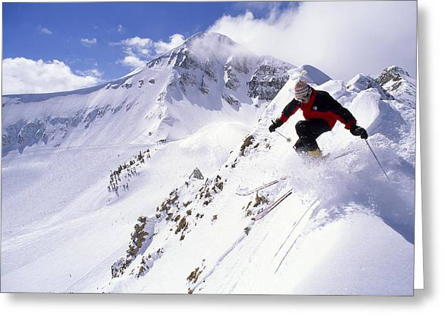 A Downhill Skier Launching Greeting Card