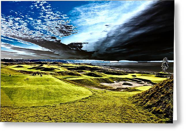 A Dramatic View On Hole 15 - Chambers Bay Greeting Card by David Patterson