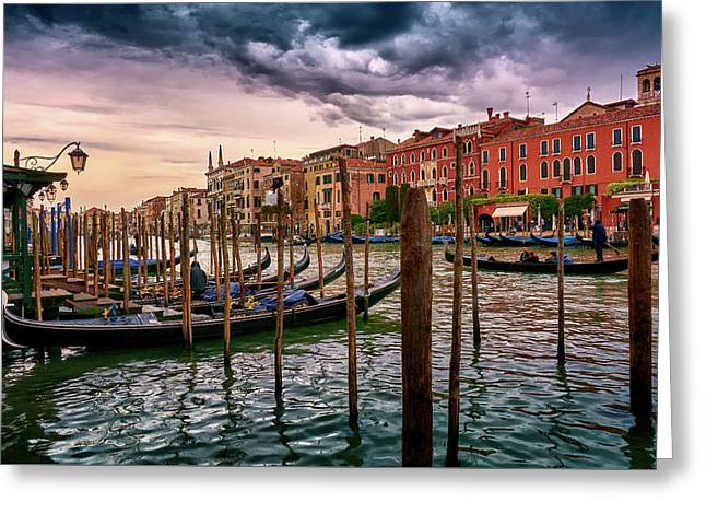 Vintage Buildings And Dramatic Sky, A Dreamlike Seascape In Venice Greeting Card