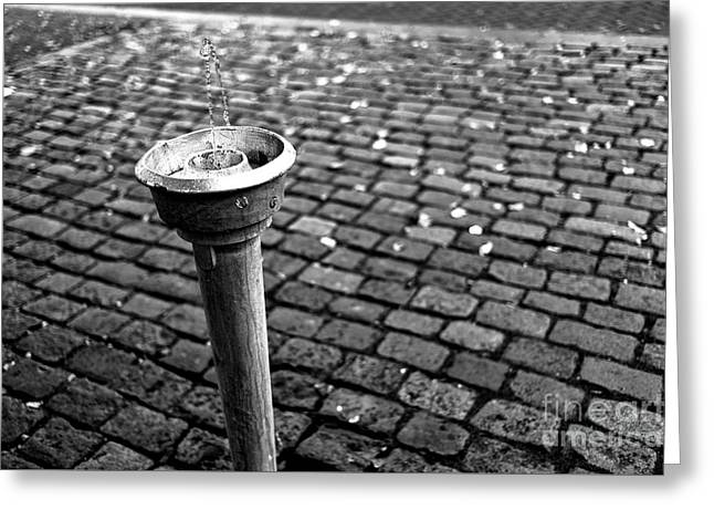 A Drink Of Water In Amsterdam Mono Greeting Card by John Rizzuto
