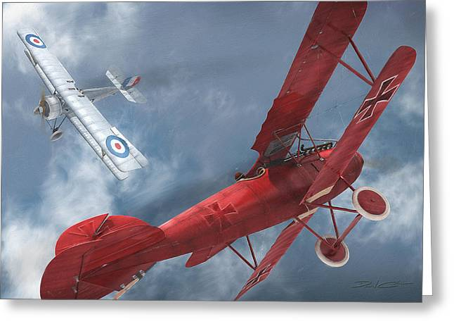 A Duel Begins - The Red Baron Greeting Card by David Collins