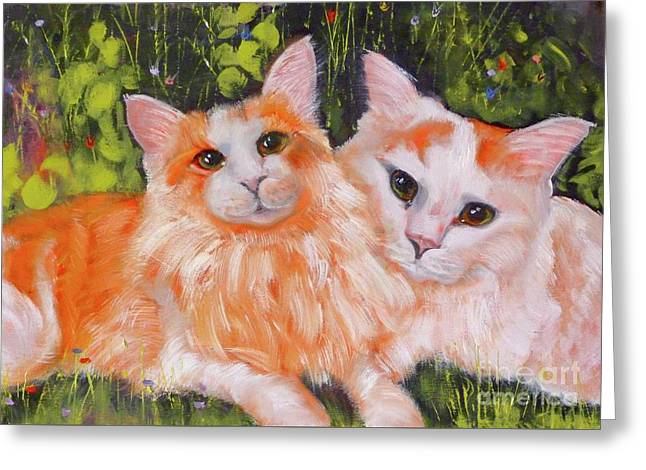 A Duet Of Kittens Greeting Card