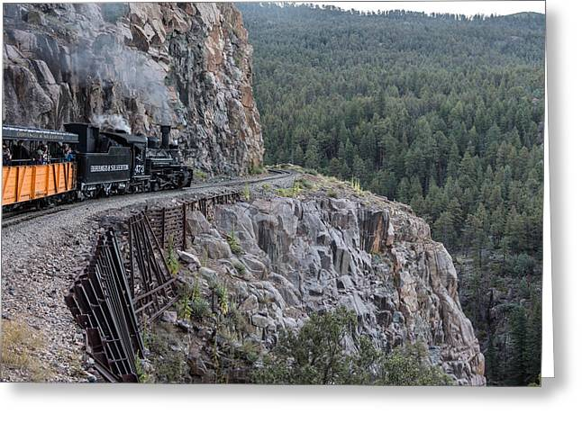 Greeting Card featuring the photograph A Durango And Silverton Narrow Gauge Scenic Railroad Train Along A San Juan Mountains Precipice by Carol M Highsmith