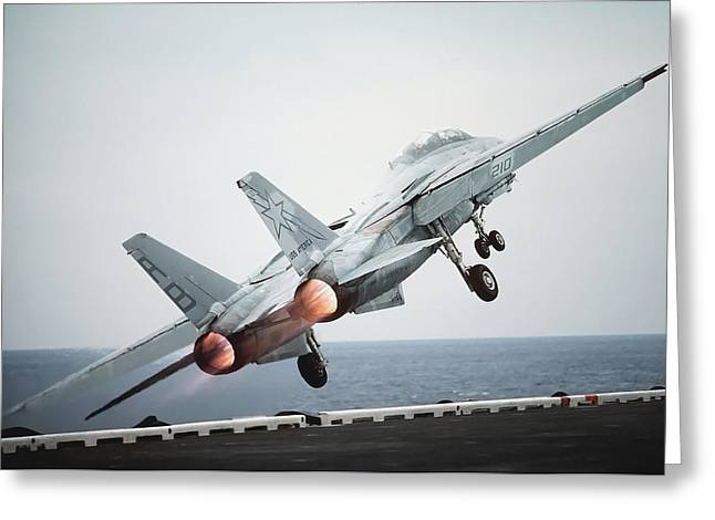 Airplane Engine Greeting Cards - A F-14a Tomcat Aircraft Is Launched Greeting Card by Stocktrek Images