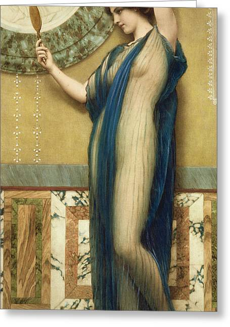 Odalisque Greeting Cards - A Fair Reflection Greeting Card by John William Godward