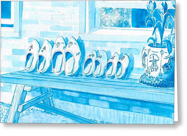 A Family Of Wooden Shoes  Greeting Card