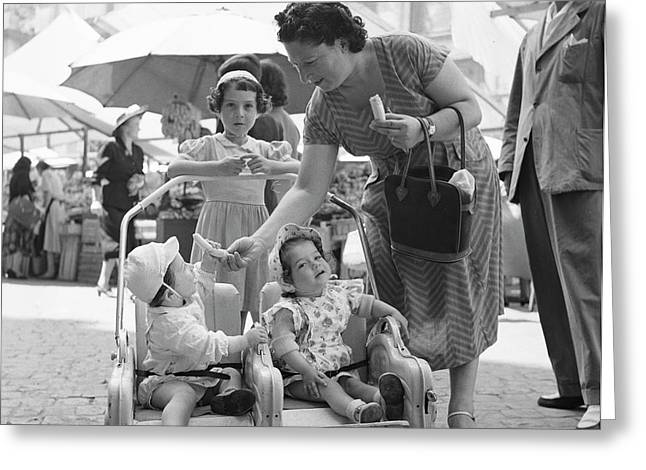A Family With Infants At An Open Air Market In Rome, 1955 Greeting Card
