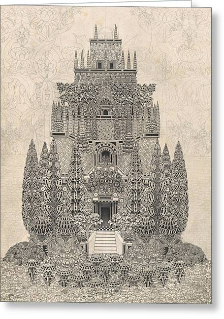 A Fantastic Tiered Structure Greeting Card by Herbert Crowley