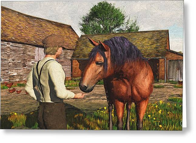 Greeting Card featuring the digital art A Farmer And His Horse by Jayne Wilson