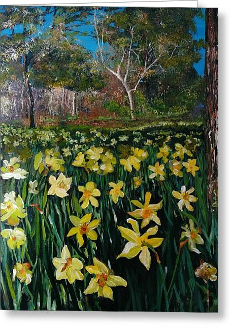 Greeting Card featuring the painting A Field Of Daffodils by Ray Khalife