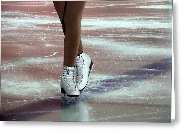 A Figure Skater's Finish Greeting Card by Anthony Dooley