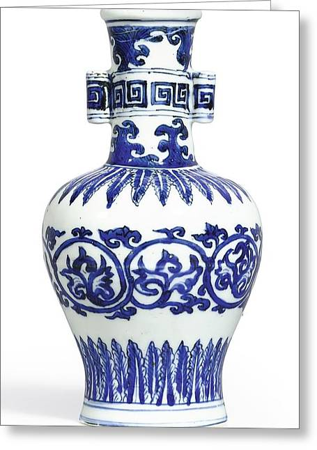 A Fine And Rare Blue And White 'arrow' Vase Mark And Period Of Wanli Greeting Card
