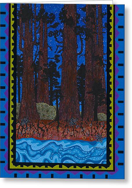 Greeting Card featuring the painting A Forest Whispers by Chholing Taha