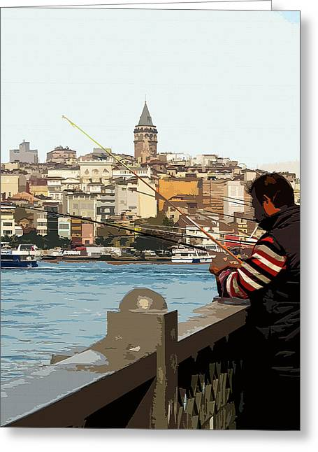 A Fisherman In Istanbul Greeting Card