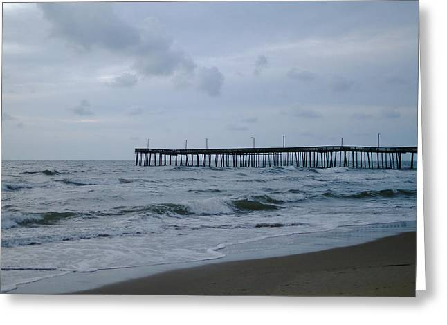 A Fishing Pier At Dawn Greeting Card