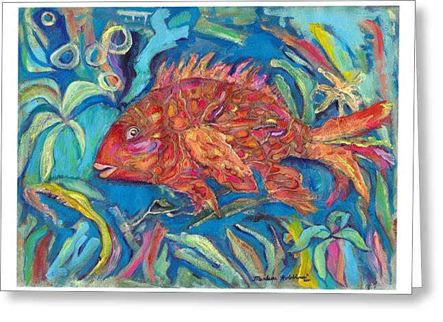 A Fishy Fantasia Greeting Card by Marlene Robbins