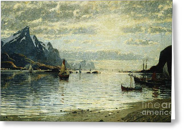 A Fjord Scene With Sailing Vessels Greeting Card by Adelsteen Normann