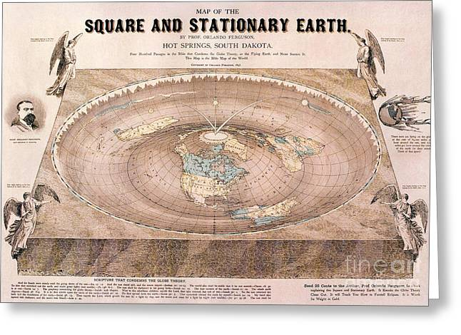 A Flat-earth Map Greeting Card by Celestial Images