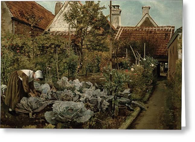 A Flemish Garden Greeting Card by Henri de Braekeleer
