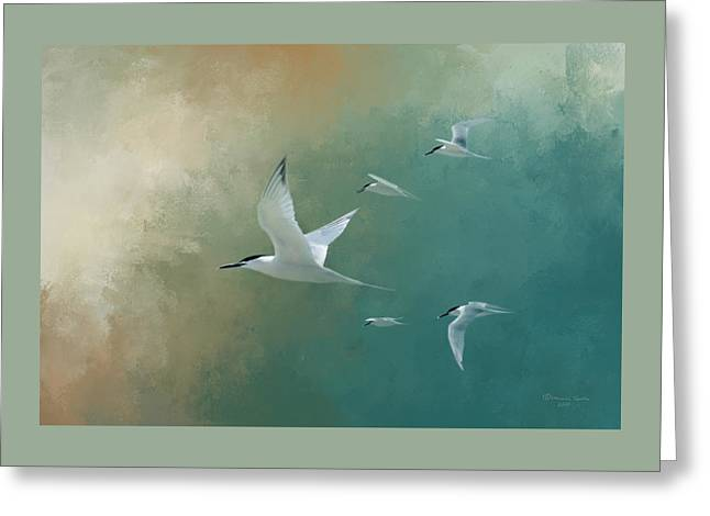 A Flight Of Terns Greeting Card