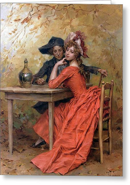 A Flirtation Also Known As The Lady In Red Greeting Card