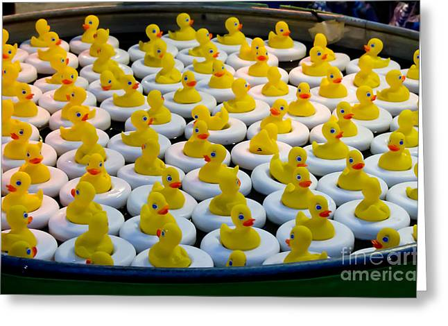 A Flock Of Rubber Duckies Greeting Card