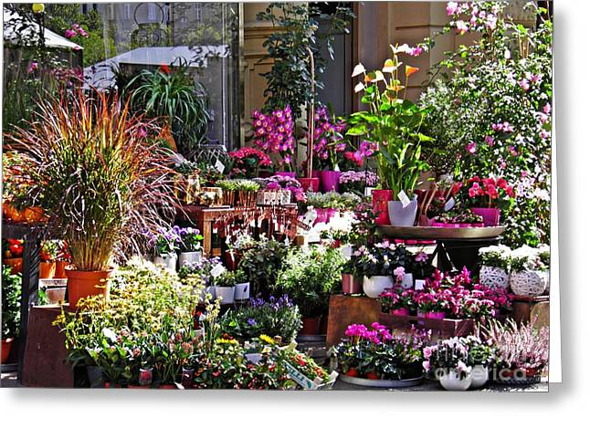 A Flower Shop In Wiesbaden Greeting Card by Sarah Loft