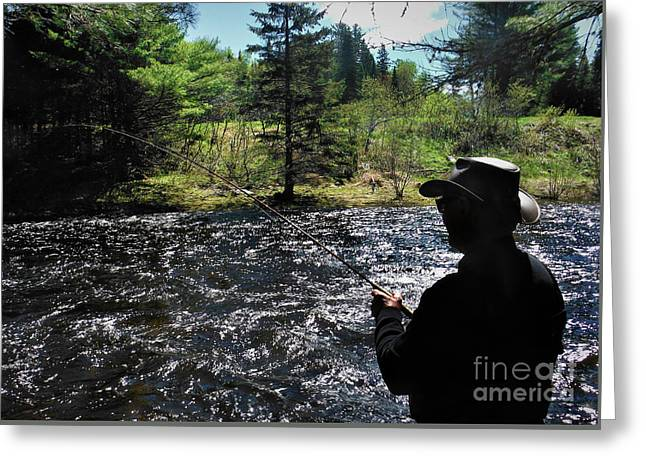 A Flyfisher Greeting Card by Skip Willits