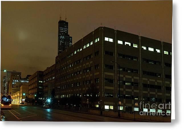 A Foggy Chicago Night Greeting Card