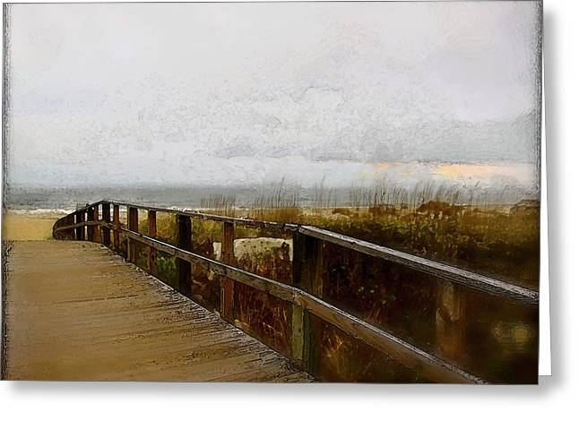 Greeting Card featuring the digital art A Foggy Day by Gina Harrison