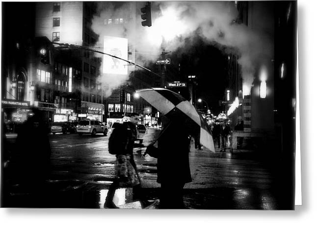 A Foggy Night In New York Town - Checkered Umbrella Greeting Card