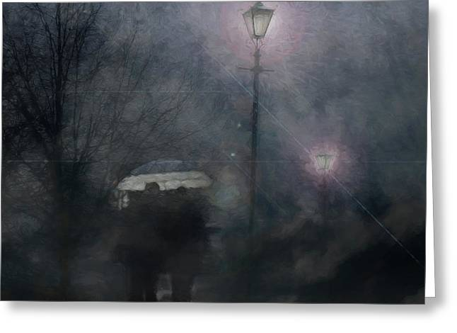 A Foggy Night Romance Greeting Card