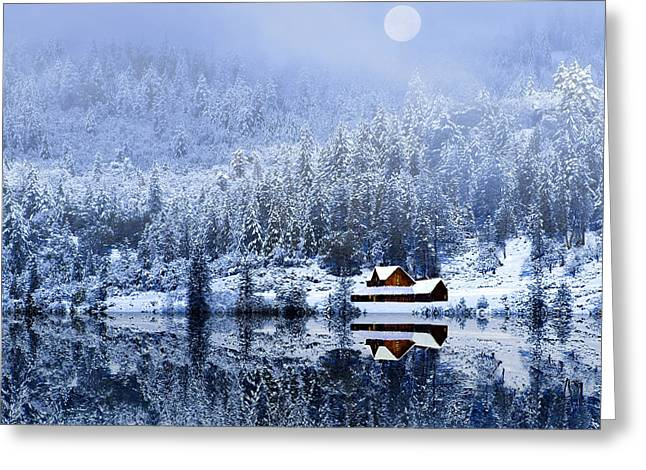 Greeting Card featuring the photograph A Foggy Winter Night by Diane Schuster