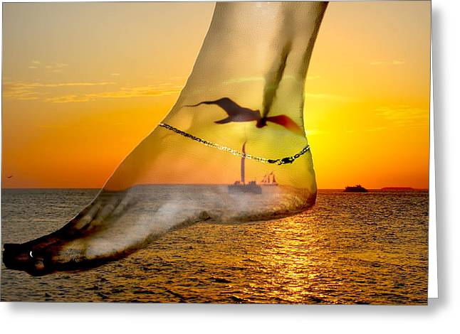 A Foot In The Sunset Greeting Card