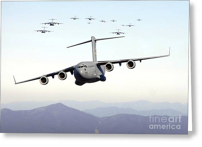 Globemaster Greeting Cards - A Formation Of 17 C-17 Globemaster Iiis Greeting Card by Stocktrek Images