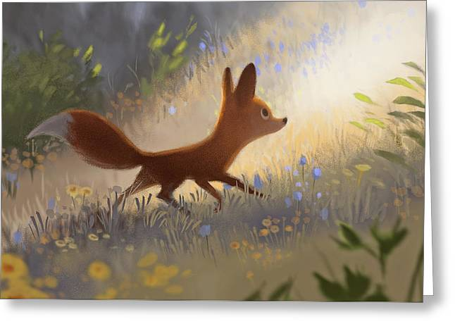 A Fox In The Flowers Greeting Card
