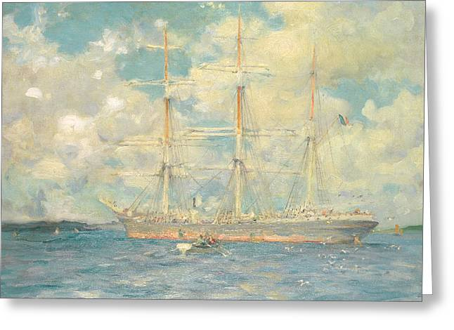 A French Barque In Falmouth Bay Greeting Card by Henry Scott Tuke