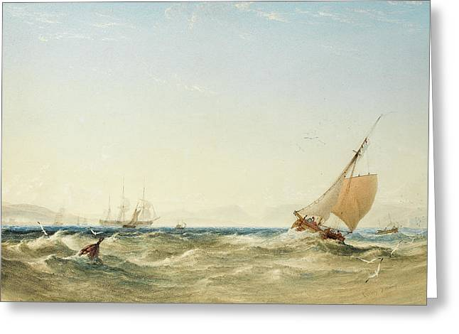 A Fresh Breeze Off The Coast Of Scotland Greeting Card by Anthony Vandyke Copley Fielding
