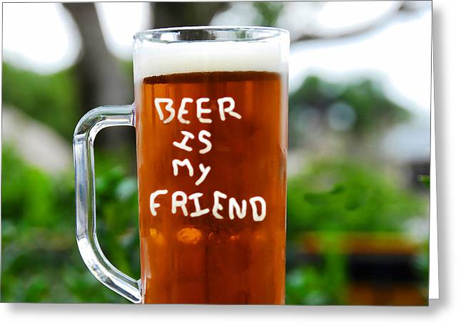 A Friendly Beer Greeting Card by David Lee Thompson