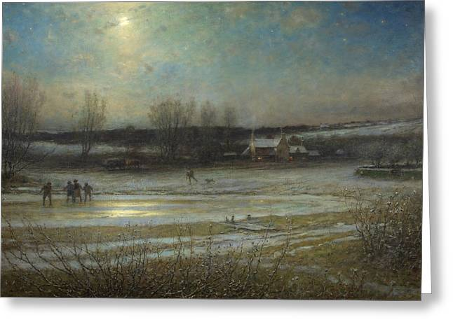 A Frosty Night   The Frozen Mill Pond Greeting Card by George Henry Boughton