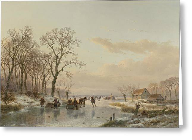 A Frozen Canal In The Meuse Greeting Card