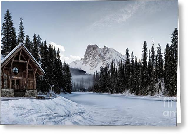 A Frozen Emerald Lake Morning Greeting Card by Brad Allen Fine Art
