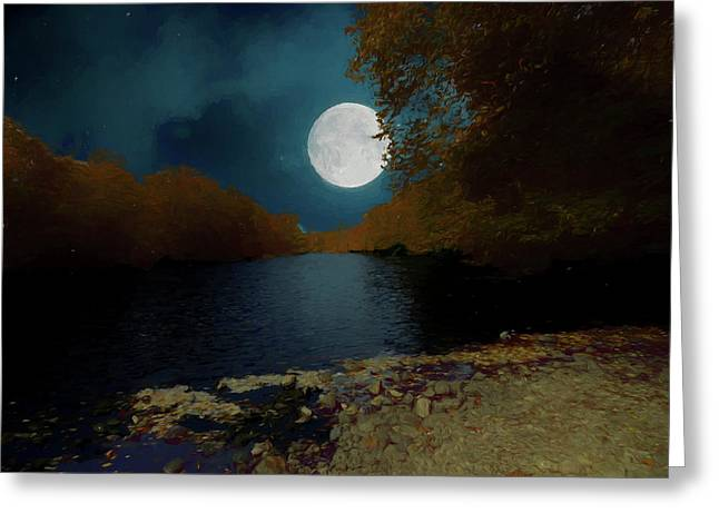 A Full Moon On A River. Greeting Card