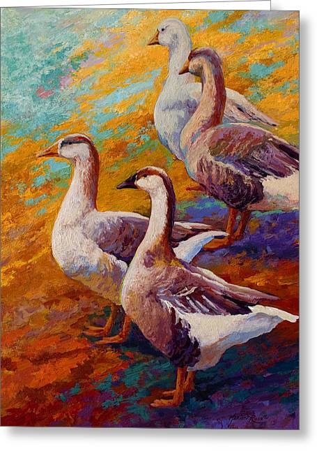 A Gaggle Of Four - Geese Greeting Card by Marion Rose
